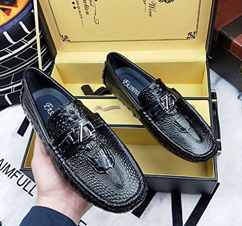 de 43 ocio zapatos cuero moda cocodrilo Negro Tamaño de del zapatos Color de del negocios zapatos Los HAOYUXIANG cuero de Blanco masculinos los de guisantes zapatos patrón de forman pC6AqAw