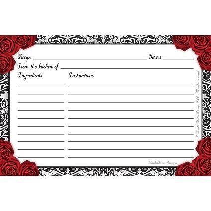 4 x 6 bridal shower recipe cards set of 50 black