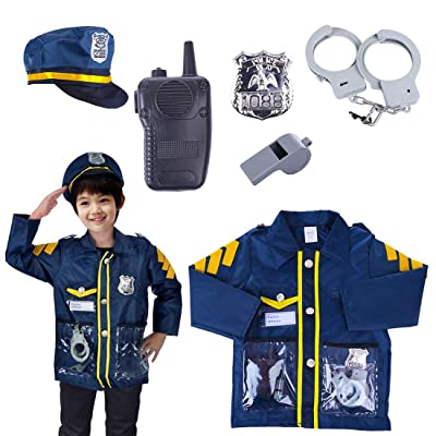 RAVPump 6Pcs Policeman Toddler Dress up, Police Role Play Costume Policeman Playset Toys for Kids Over 3 Years Old: Toys & Games