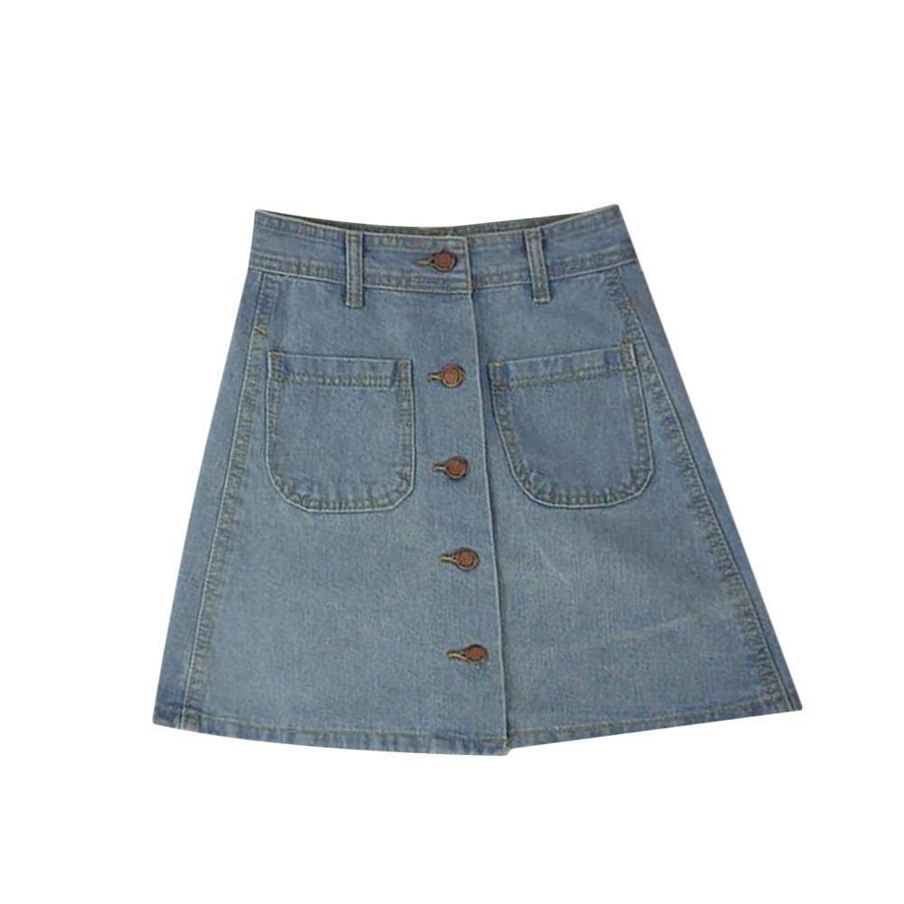 Uminilife Women Denim Skirt High Waisted Button A-Line Denim Skirt Jean Skirt Pencil Skirts with Pockets