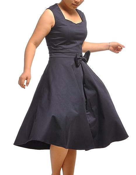 OOFIT años 50 estilo Vintage Rockabilly Swing para mujer vestido de fiesta de la mujer azul