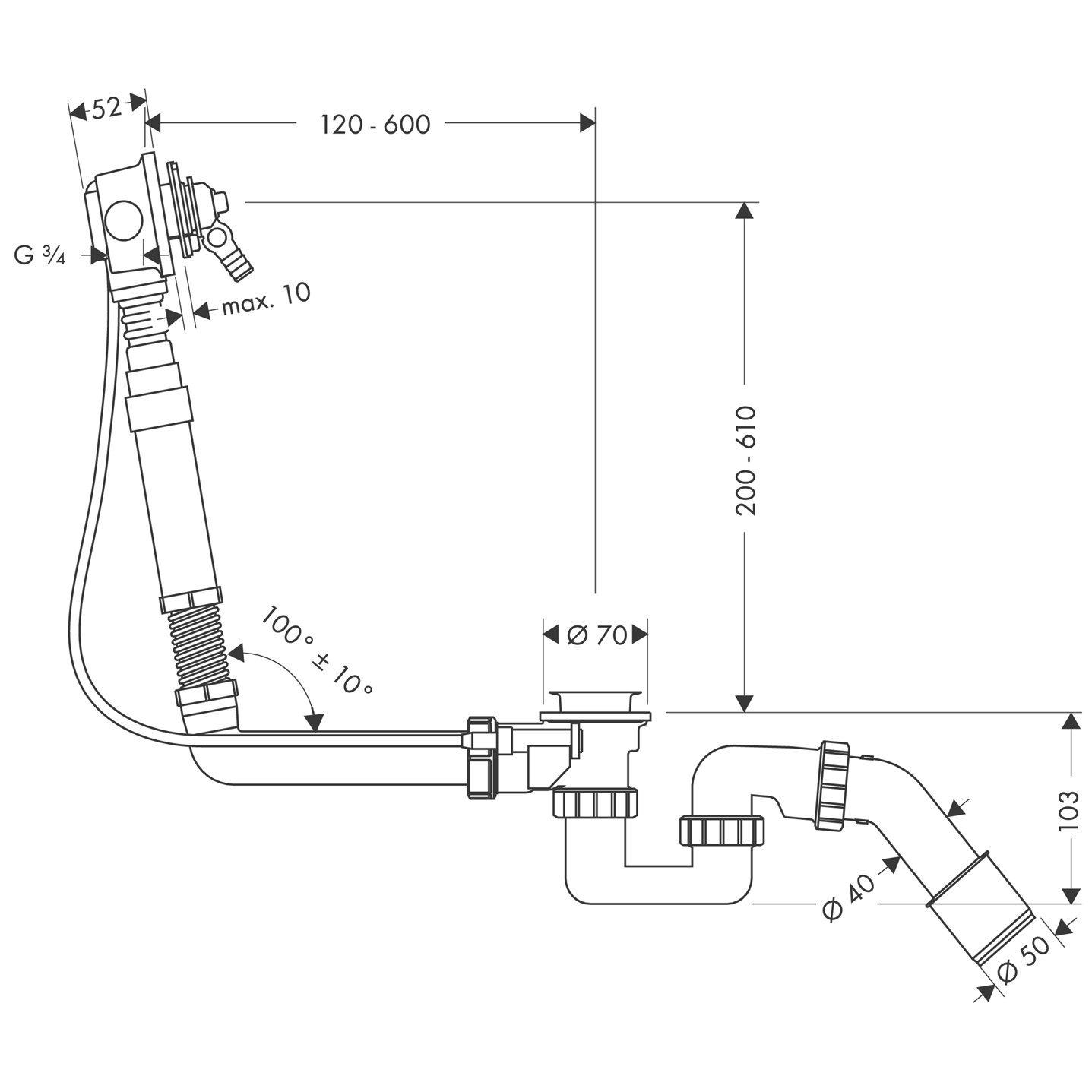 Hansgrohe 58126180 Exafill sistema de llenado y vaciado para ba/ñeras especiales