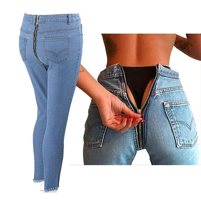 HX fashion Pantalones De Mezclilla Damas Mujer Skinny Jeans Moda Slim Fit  Basic Pantalones Lápiz De Cintura Alta Pantalones Vaqueros De Mezclilla  Pantalones ... 58ee75fe4f53