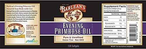 Barlean s Organic Oils Organic Evening Primrose Oil, 120 softgels 1300 mg ea. Bottle