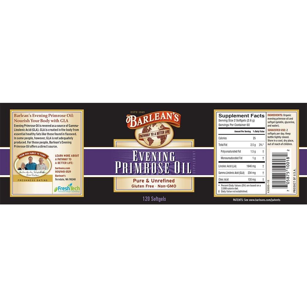 Barlean s Organic Oils Organic Evening Primrose Oil, 120 softgels 1300 mg ea. Bottle