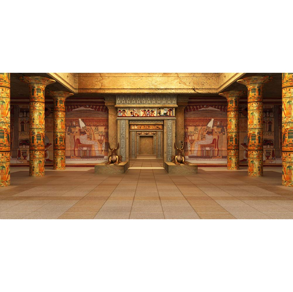 12x8ft Large Vinyl Photography Backdrop Ancient Egyptian Tomb Murals Columns Ancient Temple Interior Background for Photography Event Filming Party Decoration Studio Photo Booth Backdrop