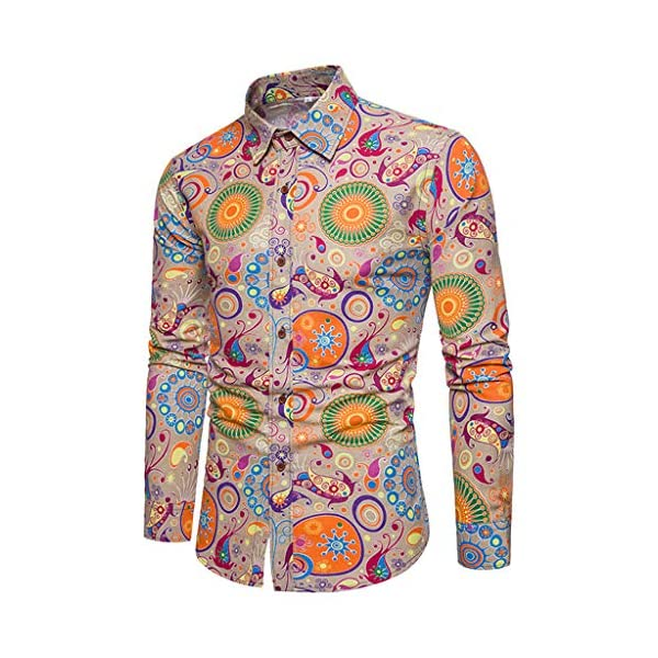 Teresamoon Mens Printing Long-Sleeved Shirt Business Leisure Button Down Dress Shirts