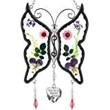 KY&BOSAM Special Friend New Butterfly Suncatchers Glass Wind Chime with Pressed Flower Wings Embedded in Glass with…