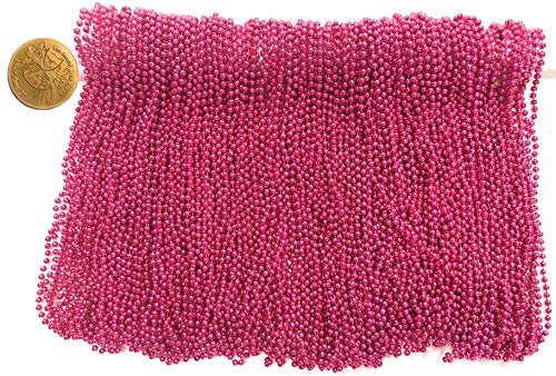 Mardi Gras Beads 33 inch 7mm, 12 Dozen, 144 Pieces, Hot Pink Necklaces with Doubloon -