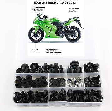 Complete Black Motorcycle Fairing Bolt Screws Fit for KAWASAKI NINJA 2008-2012 EX250 250R New Hardware Kit