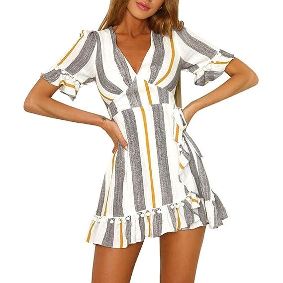 bde09b55b44c Vestido de Fiesta Mujer, Amlaiworld Mini Vestido de Cintura Alta Estampado  a Ray Sexy Mujer Boho Cuello en V Profundo Vestido de Playa Vestido de ...