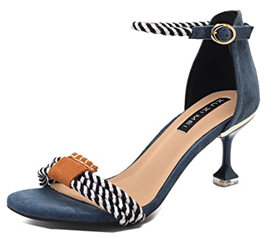 Heel Aisun Femme Mode Ouvert Boucle Kitten Sandales Bout g7pxXqf7