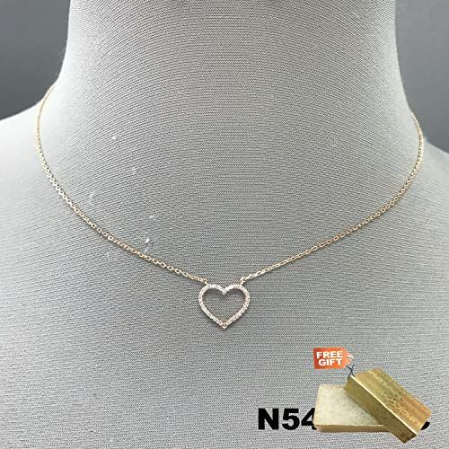 (Simple Rose Gold Dipped Clear Rhinestones Heart Shape Mini Pendant Necklace Set For Women + Gold Cotton Filled Gift Box for Free)