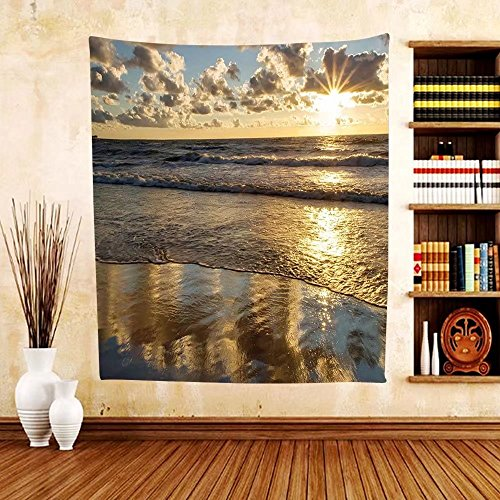 Gzhihine Custom tapestry Nature Tapestry Sunset at Beach among Clouds Horizon Fantasy Sky Dramatic Sea Tranquil Panorama for Bedroom Living Room Dorm Sepia - Beach Vero The At Outlets