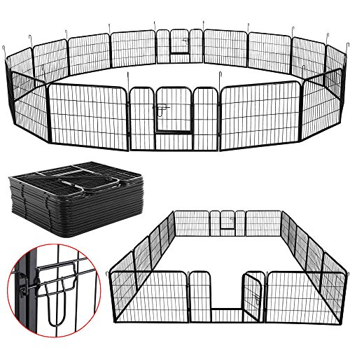 NEW 16 Panel Heavy Duty Metal Cage Crate Pet Dog Cat Fence Exercise Playpen Kennel Black (Largest Dog Kennel)