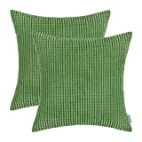 Decorative Pillow Cover - Pack of 2, CaliTime Throw Pillow Covers Cases for Couch Sofa Bed, Comfortable Supersoft Corduroy Corn Striped Both Sides, 22 X 22 Inches, Forest Green