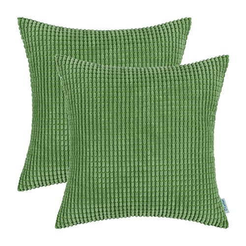 (CaliTime Pack of 2 Comfy Throw Pillow Covers Cases for Couch Sofa Bed Comfortable Supersoft Corduroy Corn Striped Both Sides 18 X 18 Inches Forest Green )
