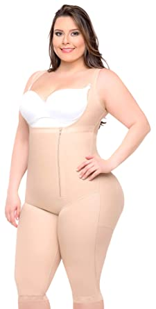 cfa985c7593d0 Fajas Colombianas Full Body Shaper Butt Lifter Short Style with High Back   Knee  Length Coverage