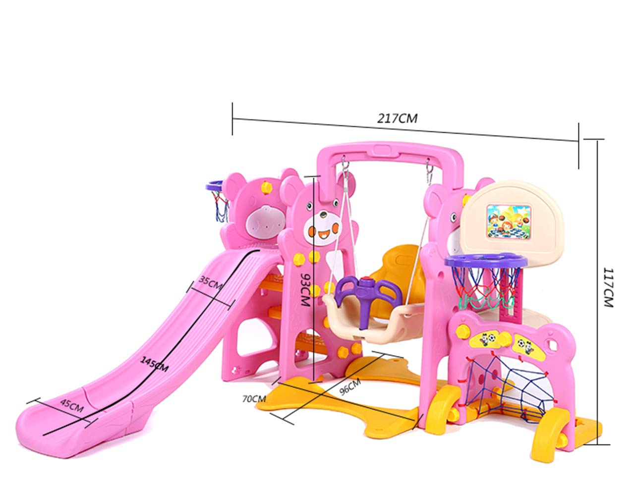5-in-1 Toddler Climber and Swing Set with Ball Pool and air Pump Basketball Hoop Playset for Both Indoors Backyard,Green by Thole (Image #2)