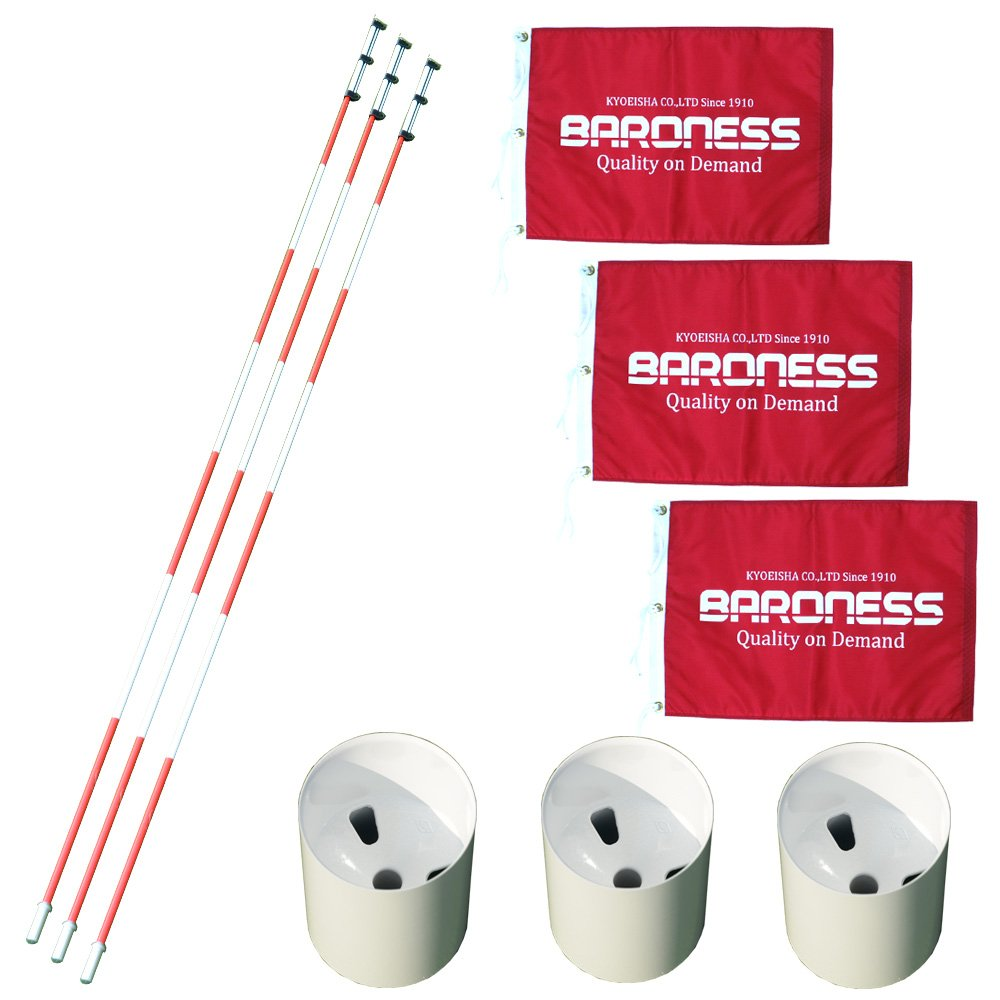 グリーンセット×3セット(ホールカップ発音板なし&ポール(白赤ストライプ)  バロネスフラッグ×3 B07DL2Q2JK