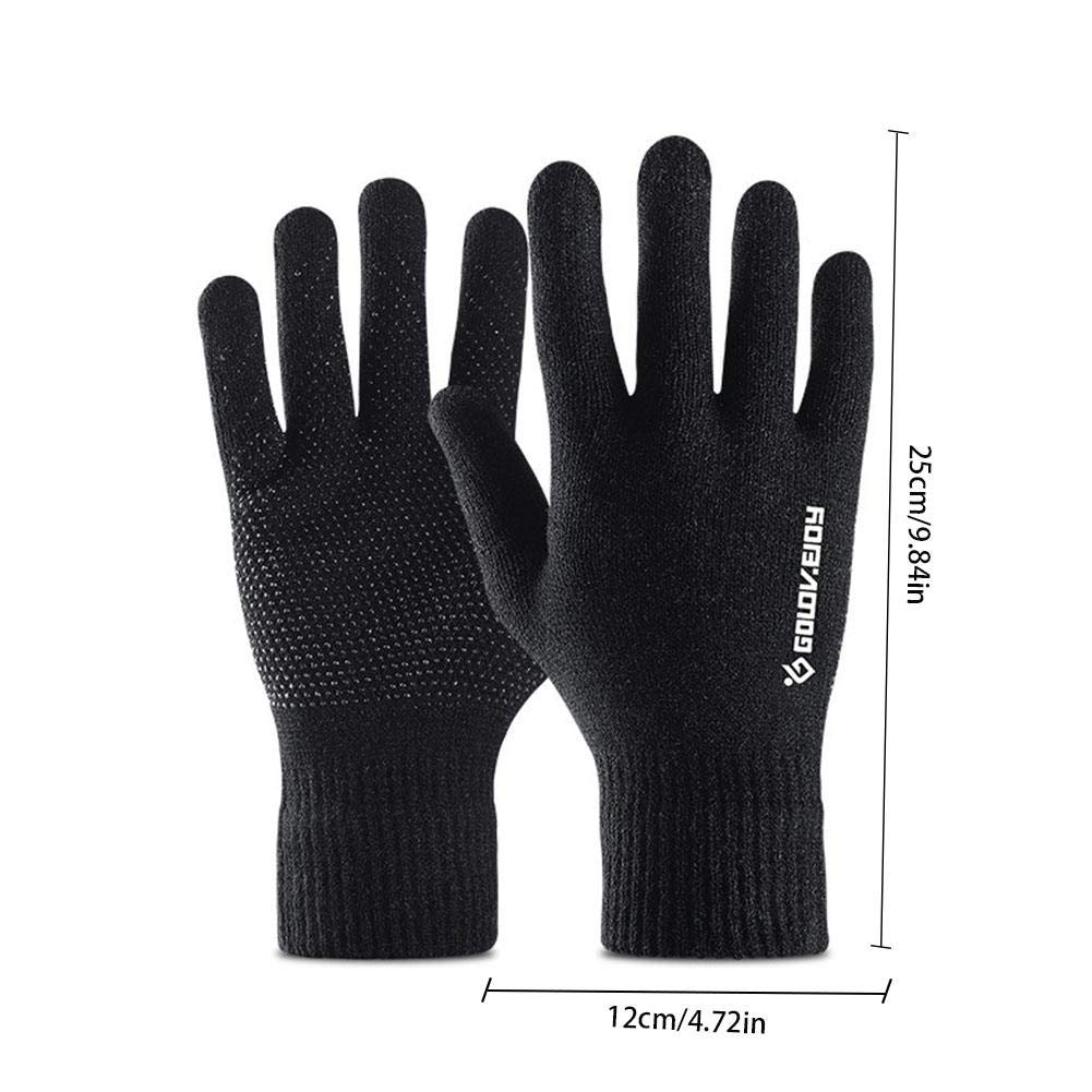 Winter Touch Screen Knit Gloves Windproof for Men Knit Wool Lined Texting foreverwen