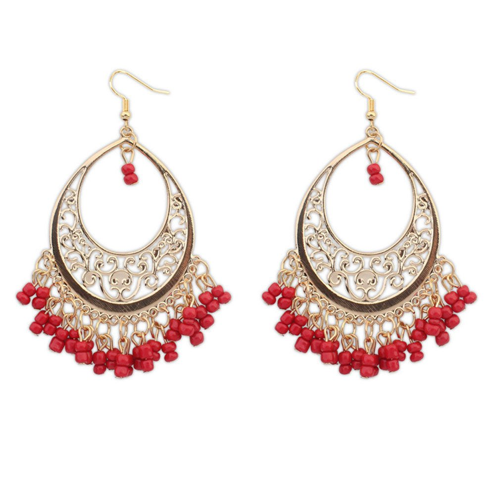 Bokeley Earrings, European and American Retro Fashion Hollow Crescent Leaf Earrings (Red)