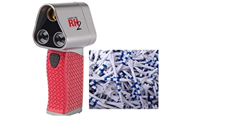 Laser Link Red Hot 2 Golf Rangefinder Bundle with 200 My Hite Champ Zarma Fly White Blue Stripe Tees 3 1 4 RH2 Laser Rangefinder Tees