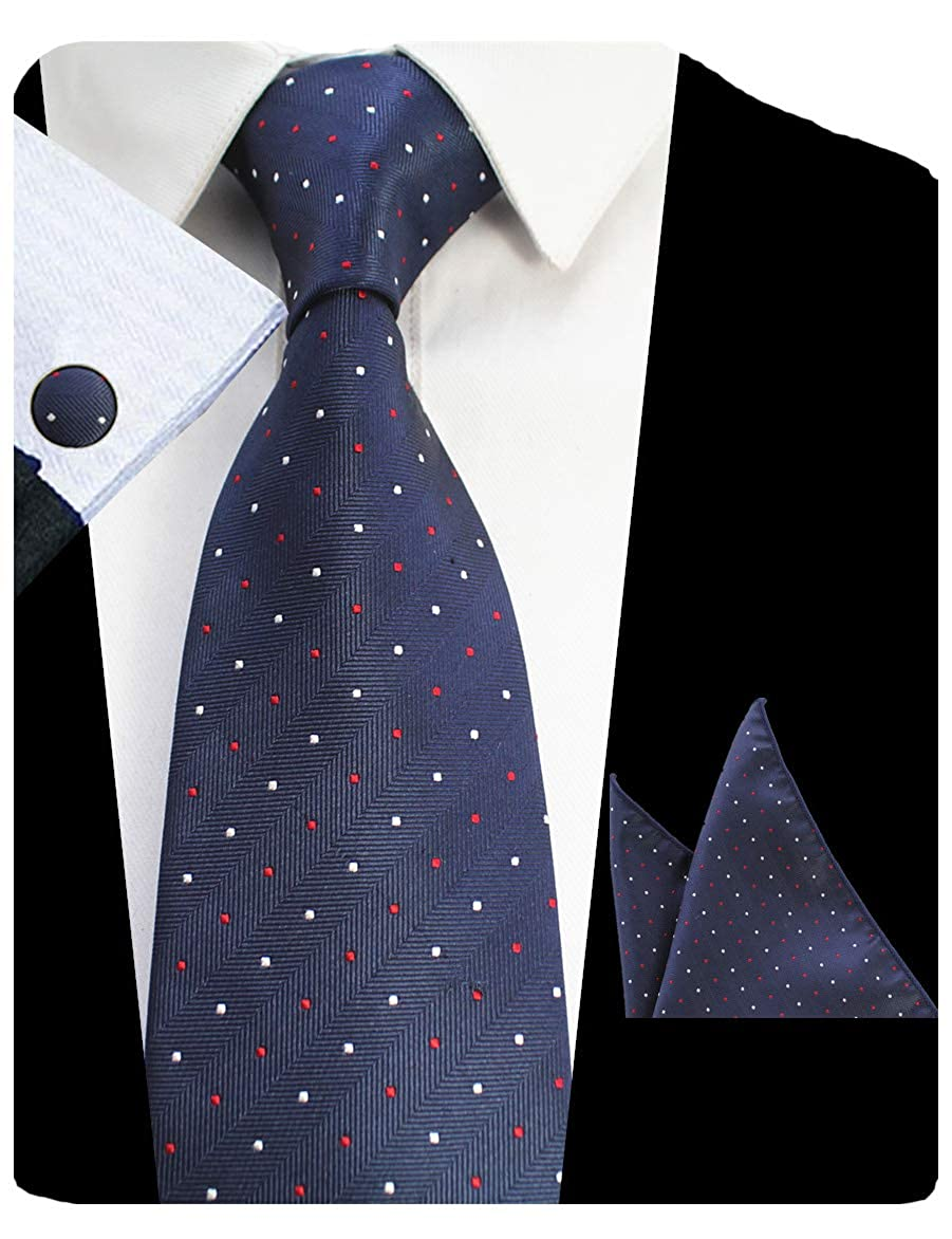 GUSLESON Mens Plaid Tie Striped Dots Necktie and Handkerchief Cufflinks Set GUS13