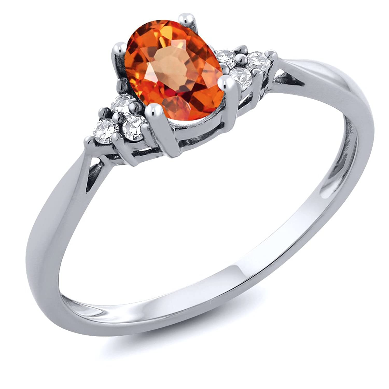 0.55 Ct Oval Orange Sapphire and Diamond 14K White Gold Ring