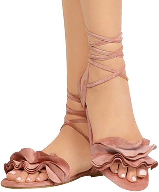 Sandales Femmes Plates,LANSKIRT Chaussures Romaines Volants Sandales /à Bout Rond Et /à Bride Crois/ée Sandales Basses Dames Tongs Arena Chaussures