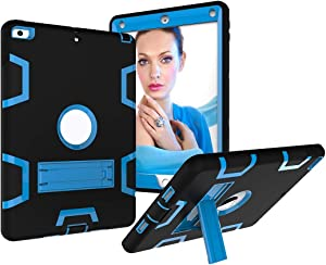 Tablet Protective Clips Shockproof Heavy-Duty Rubber High-Strength Sturdy and Durable Hybrid Three-Layer Full Body Protective Case for New iPad 9.7 2017/2018 Built-in Shockproof Support Tablet PC Bag