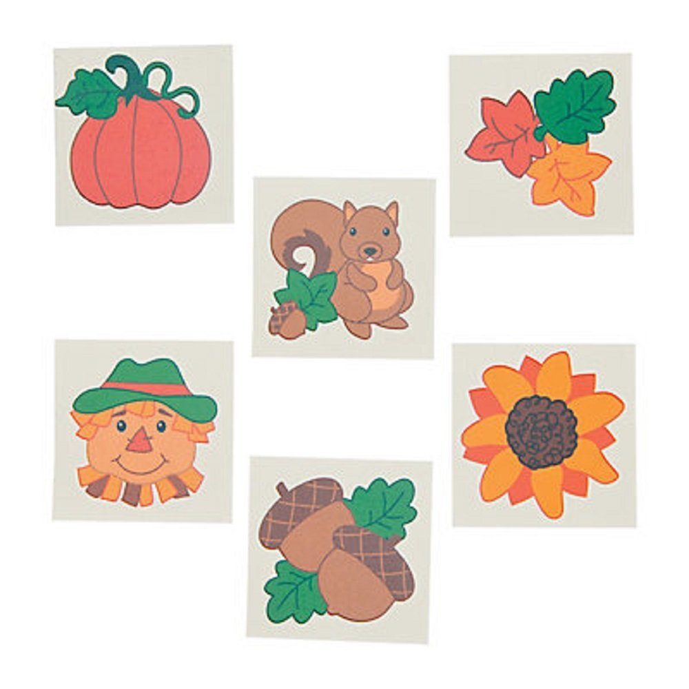 "Top 72 ~ Fall / Autumn Temporary Tattoos ~ approx. 1.5"" ~ New / Individually packaged supplier"
