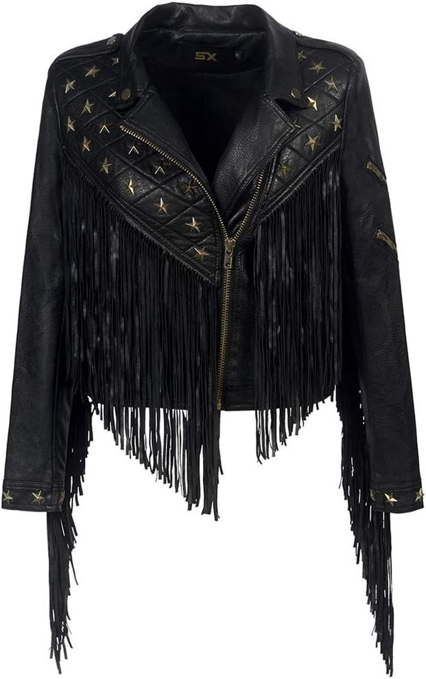 Sijux Mujeres Lady Black Punk Polo Collar con Flecos Remache De Cuero PU Chaqueta Corta Abrigo con Cremallera Famale Manga Larga Estilo Casual Outwear