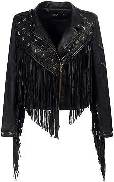 Sijux Mujeres Lady Black Punk Polo Collar con Flecos Remache De ...
