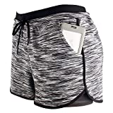 RIBOOM Women Workout Running Shorts, Two in One Active Yoga Gym Sport Shorts with Pockets Black White