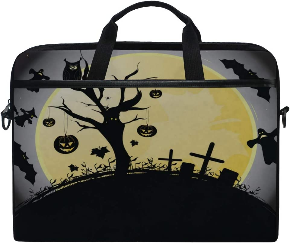 Briefcase Messenger Shoulder Bag for Men Women Laptop Bag Halloween 15-15.4 Inch Laptop Case College Students Business People Office Workers