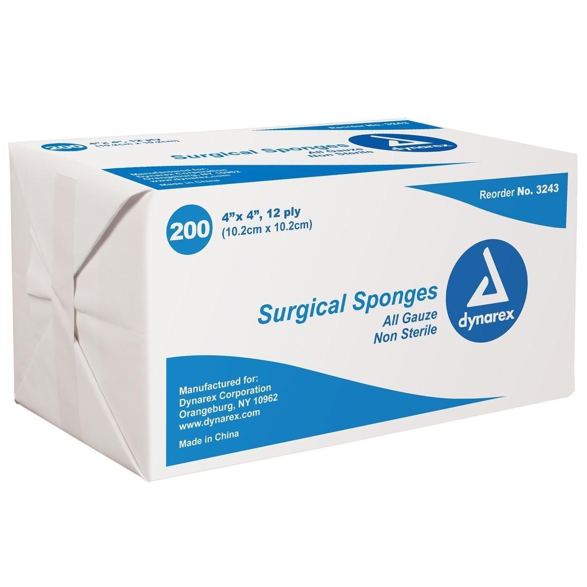 3243 Sponge Gauze Non-Sterile Cotton 4x4'' 12Ply 2000 Per Case Part No. 3243 by- Dynarex Corporation