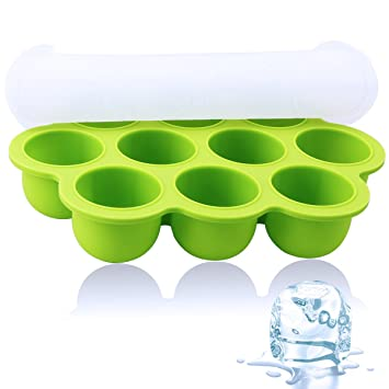 Bandeja de hielo - CrazyLynX Molde de Silicona para Hacer con tapas con 10 medias bolas