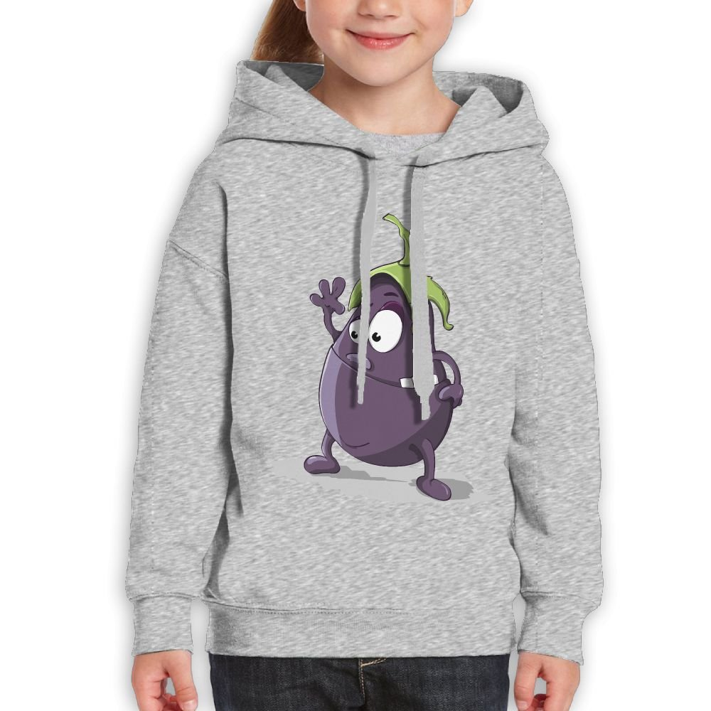 GLSEY Waving Eggplant Pattern Youth Soft Casual Long-Sleeved Hoodies Sweatshirts