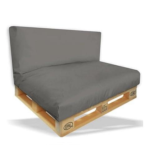 Palettenkissen Sitzpolster 2er Set - 120x80x15cm + Rückenkissen 120x40x10cm Farbe Anthrazit - In & Outdoor - Palettenpolster