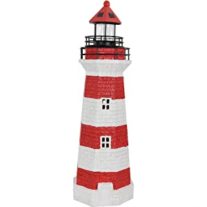 Sunnydaze Solar LED Garden Lighthouse, Outdoor Yard Decoration, 36 Inch Tall, Red Stripe