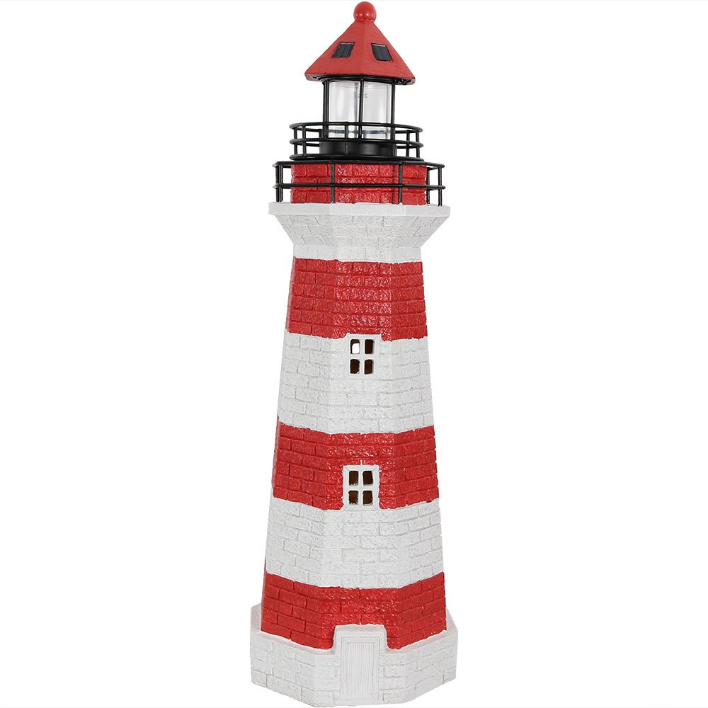 Sunnydaze Red Horizontal Stripe Solar LED Lighthouse Outdoor Decor, 36 Inch