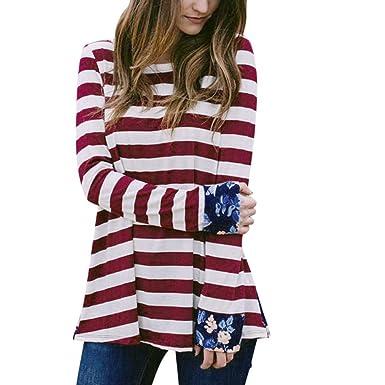 ABsoar Blusen Damen Patchwork Blusen O-Ausschnitt Tops Langarmshirts Frauen  Herbst Streifen Shirt Tunika Pulli b34ffb6dda