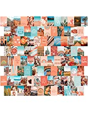Peach Aesthetic Wall Collage Kit, Boho Posters for Room Aesthetic, 100 Set 4x6 inch, Room Decor for Teen Girls, Peachy Teal Wall Art Print, Dorm Photo Collection