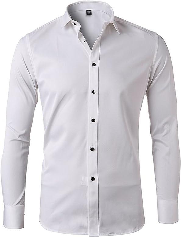 V-toto Camisas de Vestir, Camisa Bambú Fibra Hombre en Forma Delgado de Sólido Manga Larga Casual, Camisa Elástica Formal para Hombre: Amazon.es: Ropa y accesorios