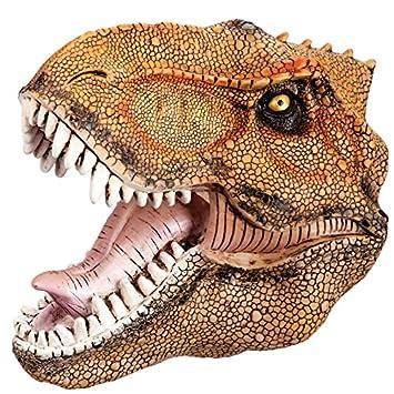Carnival Toys - Máscara de goma Eva dinosaurio, con encabezado, color naranja (1402