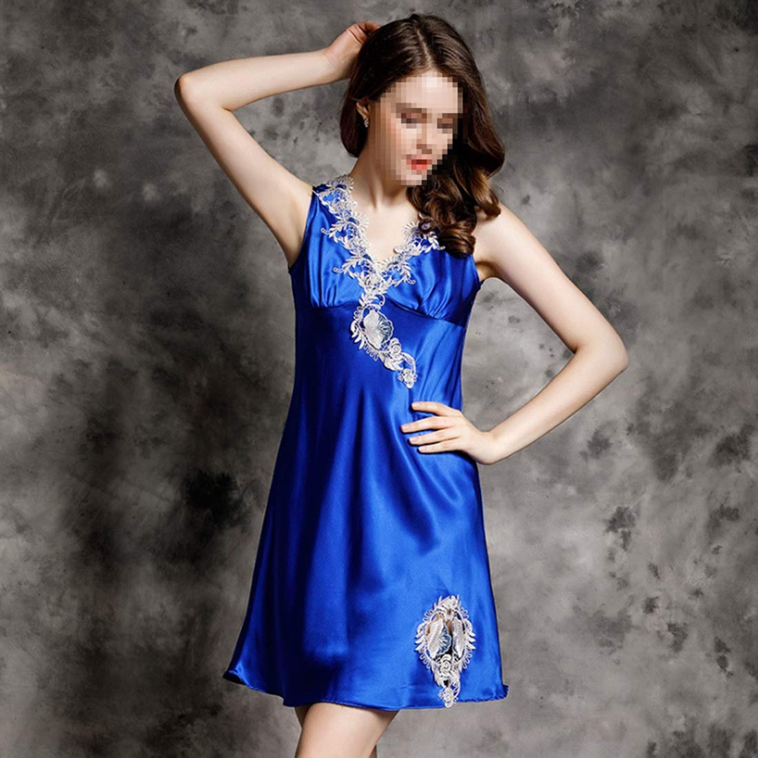 2 Vfdsvbdv Sexy Silk Pajamas Ladies Nightdress 100% Silk Lace Casual Home Service (color   01, Size   L)