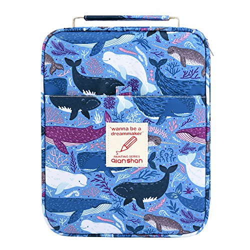 202 Colored Pencils Pencil Case / 136 Color Gel pens Pen Bag/Marker Organizer - Universal Artist use Supply School Zippered Large Capacity Slot Super Big Professional Storage qianshan Dolphin