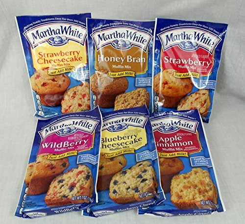 Blueberry Cheesecake Muffin - Martha White Muffin Lovers Variety Bundle of 6 Mixes: Wildberry, Strawberry, Apple Cinnamon and Honey Bran, Strawberry Cheesecake, and Blueberry Cheesecake