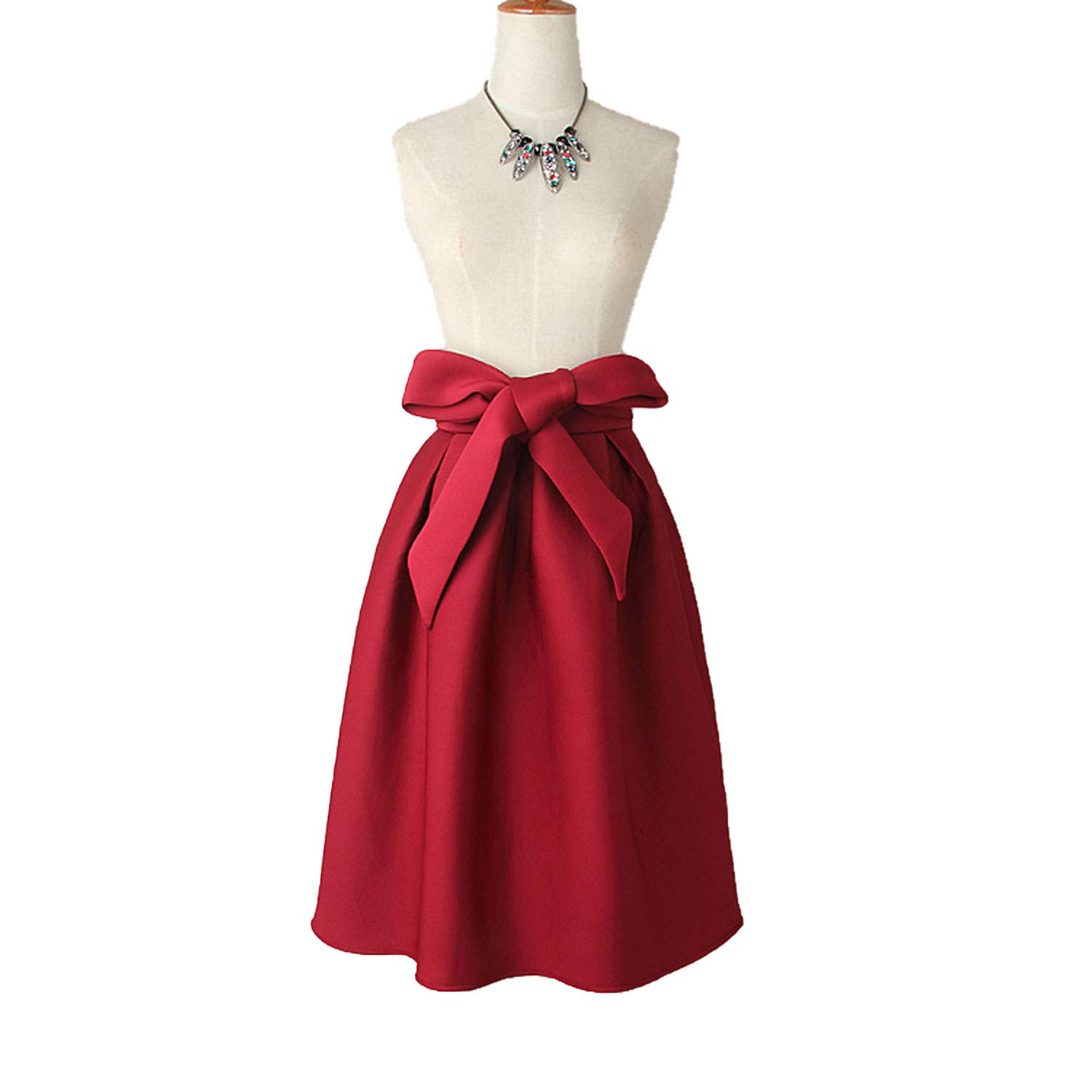 bright n colour biggest selection double coupon Elegant Vintage Women High Waist Pleated A Line Big Bow Red ...